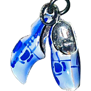 Pair of Sterling Silver Blue Enameled Dutch Shoe Charms - Vintage Charms for Necklace or Bracelet