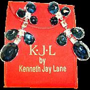 Vintage KJL Shoulder Duster Earrings - Kenneth Jay Lane Crystal Dangle Drop Chandelier Earrings - With Bag and Box