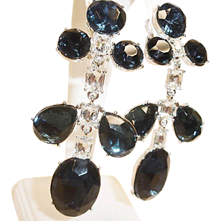 Vintage KJL Shoulder Duster Earrings -  Kenneth Jay Lane Crystal Dangle Drop Chandelier Earrings