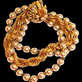 Estate Miriam Haskell Bracelet – Vintage Glass Pearl and Seed Bead Pearl Bracelet