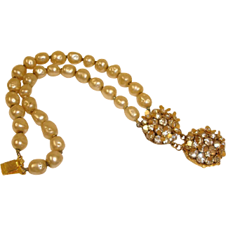 Miriam HASKELL Two Strand Glass Baroque Pearl Bracelet – Vintage Miriam Haskell Jewelry