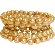 Signed MIRIAM HASKELL Cuff Wrap Bracelet – Vintage 5 Rows Glass Baroque PEARL and Gold Bead Bracelet