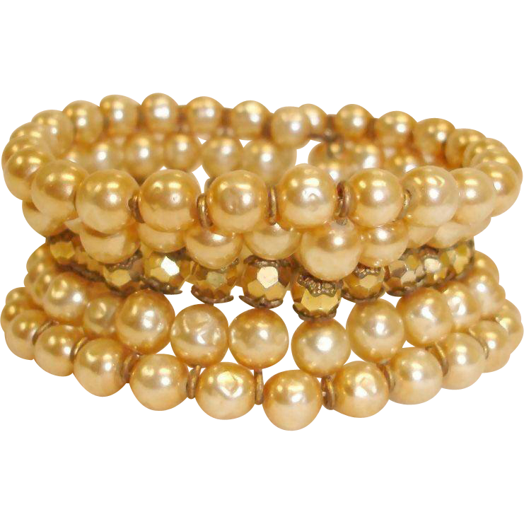Signed MIRIAM HASKELL Cuff Wrap Bracelet – Vintage 5 Rows Glass Baroque PEARL - Gold Bead Bracelet