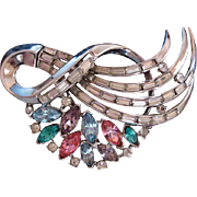 Vintage Crown Trifari Multi Rhinestone Brooch Pin