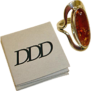 Estate Dominique Dinouart DDD Sterling Amber Ring - Designer Vintage  Amber Ring
