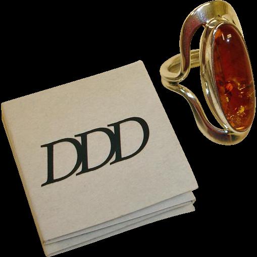 Estate Dominique Dinouart DDD Sterling Amber Ring - Designer Vintage  Amber Ring