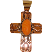 Native American Jewelry  - Copper Spiny Oyster Shell Cross Pendant -  Albert Cleveland