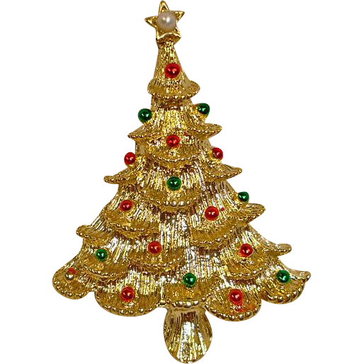 Gerry's Christmas Tree PIn - Red & Green Ornaments & Faux Pearl
