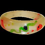 Vintage Frank Giordano Lucite Bracelet - Artistic Hand Painted  Bracelet