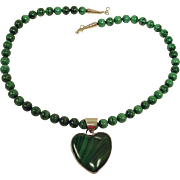 Vintage Navajo Necklace -  Native American Malachite Beaded Necklace with Sterling Pendant