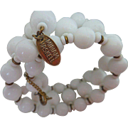 Signed MIRIAM HASKELL Memory Wire or Coil Bracelet - Vintage Milk Glass Bead Miriam Haskell Jewelry