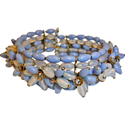 Early Unsigned Miriam Haskell Wire Wrap Cluster Bracelet –  Blue Opalescent Glass and Rhinestone Wrap Bracelet