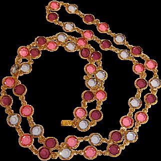 "SWAROVSKI -  34"" Pastel Bezel Set Austrian Crystals Necklace - Vintage SWAN Logo Tag"