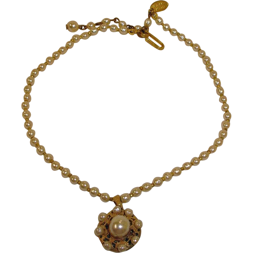 1950's Miriam Haskell Baroque Pearl Choker Necklace with Pendant – Vintage Miriam Haskell Jewelry