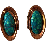 Vintage Estate Renoir Matisse Earrings - Signed Copper and Teal/Turquoise Enamel Earrimgs