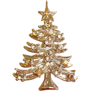 Vintage EISENBERG ICE Christmas Tree Pin - Silver and Sparkly Clear Rhinestones