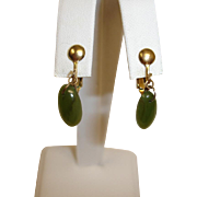 Vintage Dangle Drop Green Jade Earrings