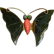 Vintage  Jade and Coral Butterfly Brooch Pin