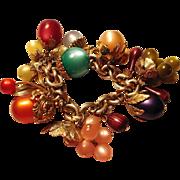 Chunky NAPIER Fruit Salad Charm Bracelet - Vintage Napier Tropicana Charm Bracelet