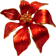 Vintage  Cerrito Red Christmas Poinsettia Brooch