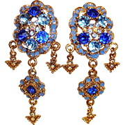 Chandelier Earrings - Blue Crystal and Rhinestone Clip-On Earrings - Vintage Shoulder Duster Rhinestone Earrings