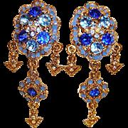 Chandelier Earrings - Blue Crystal and Rhinestone Clip-On Earrings - Vintage Shoulder Duster Rhinestone Earrings