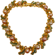 Joan Rivers Bracelet – Vintage Faux  Pearls and Enamel Gold Tone Bracelet