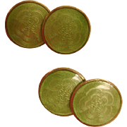 1920's - 1930's  Art Deco Green Guilloche Enamel Cufflinks