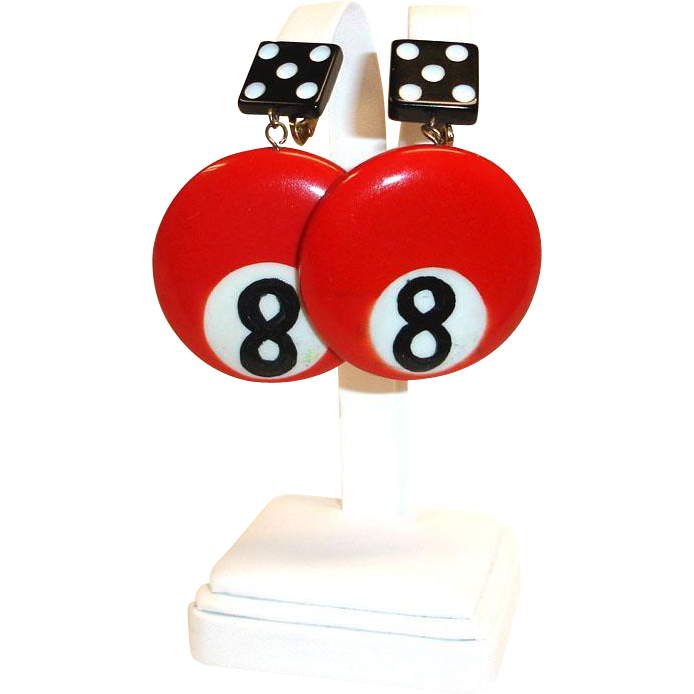 Vintage  Dangling Red Cobra Earrings -  HUGE 8 Ball and Dice Clip-On  Earrings