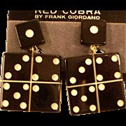 Vintage Dangling Red Cobra Earrings - HUGE Dice Clip-On Earrings by Frank Giordana