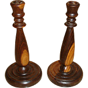 Antique Mahogany Hand Turned English Wood Candlesticks - Wooden Candle Holders