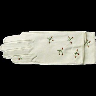 Vintage Ladies Kid Gloves - Creamy White Embroidered Leather Kid Gloves