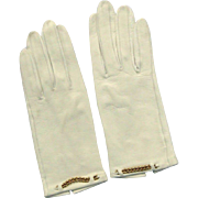 Vintage Ladies Kid Gloves - Creamy White Leather Kid Gloves with Gold Chain Trim