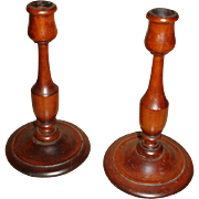Vintage Candlesticks Candle Holders Mahogany - Dark Cherry Finish - 8 1/4""
