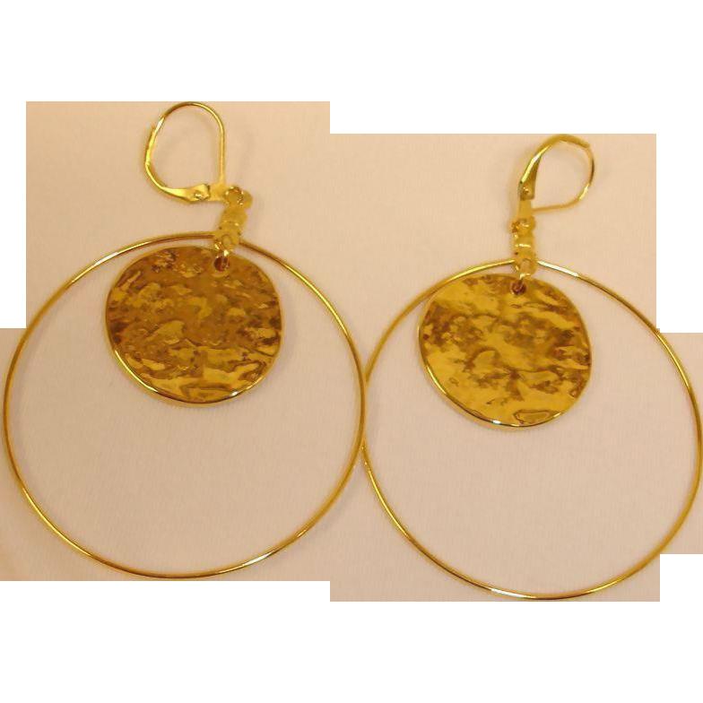 KJL Hand Hammered Disk and Hoop Pierced Earrings - Kenneth J Lane Gold Tone Dangle Drop Earrings