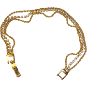 Vintage 3 Strand Rhinestone Gold Plated Bracelet