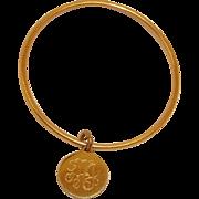 Vintage Circle Bracelet with Charm or Disk