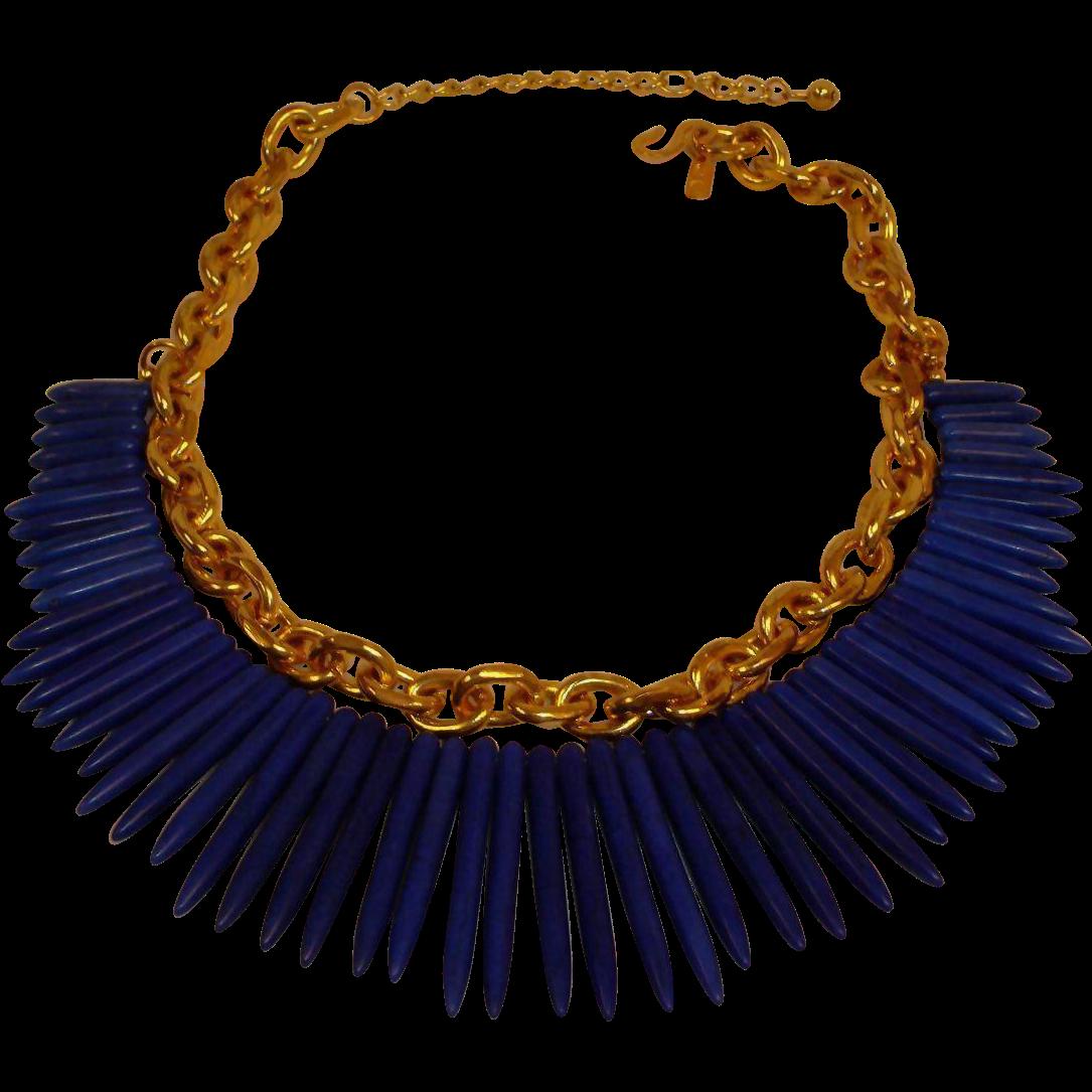 KJL Blue Tribal Necklace - Kenneth Jay Lane Blue Spike Necklace  -  Vintage KJL Jewelry