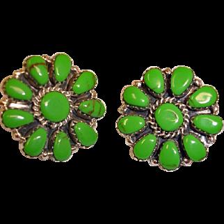 Estate Native American Gaspeite  Earrings - Handmade Sterling Silver Gaspeite Cluster Post Pierced Earrings
