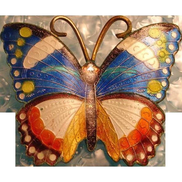 Vintage Enamel Butterfly Brooch Pin
