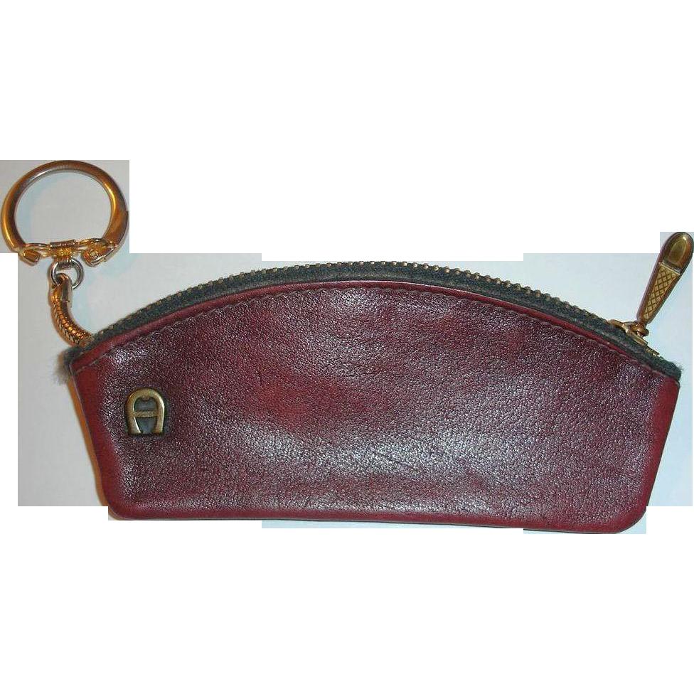 Vintage Etienne Aigner Burgundy Leather Key Case  -  Money Carrier