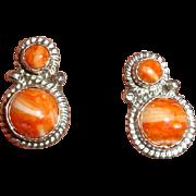 Running BEAR Navajo Earrings -  925 Sterling Silver  - Spiny Oyster Shell Earrings- Signed  J T