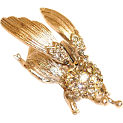 Vintage Hattie Carnegie Trembler Brooch - Silver Tone - Carnegie Movable or Mechanical BUG Brooch