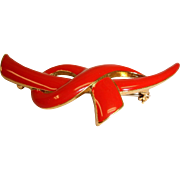 Estate Red Enamel  Bow - Knot Brooch / Pin