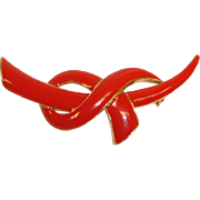 Estate Red Enamel INFINITY Knot Brooch / Pin
