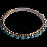 Estate Navajo Sterling  Bangle Turquoise Bracelet - Yazzie - Sterling Silver