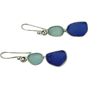 Sterling Silver Sea Glass Drop Dangle Earrings - Cobalt Blue and Aqua Sea Glass Earrings