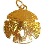 Vintage Gold Plated Sand Dollar Charm or Pendant