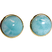 Estate Larimar Pierced Post Earrings