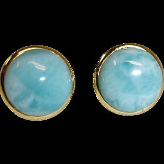Estate Larimar Pierced Post Earrings